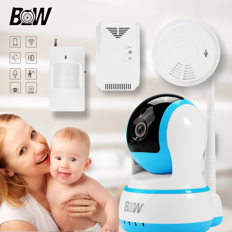 Security Surveillance Wifi IP Camera Wireless + Infrared Motion Sensor/Smoke/Gas Detector Linkage Alarm Device Automatic Alarm 720p hd ip camera security door sensor infrared motion sensor smoke gas detector wifi camera monitor equipment alarm bw13b