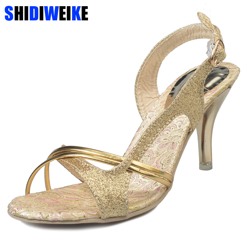 Women sandals high quality summer shoes women casual solid sexy high heeled sandals women sandalias mujer golden & silver m749 women sandals platform shoes leather womens sandals flat summer 2018 casual high quality shoes size 34 40 sandalias de mujer