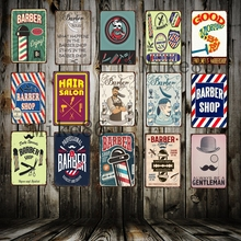 [ Mike Decor ] Barber Shop Funny Tin Sign Retro Craft Irregular Metal Painting Wall Plaque Store Party decoration FG-134