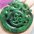 CHINESE OLD HANDWORK CARVE GREEN JADE DRAGON PENDANT/ Free Shipping