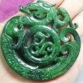 Chinês velho HANDWORK CARVE verde JADE pingente de dragão / frete grátis
