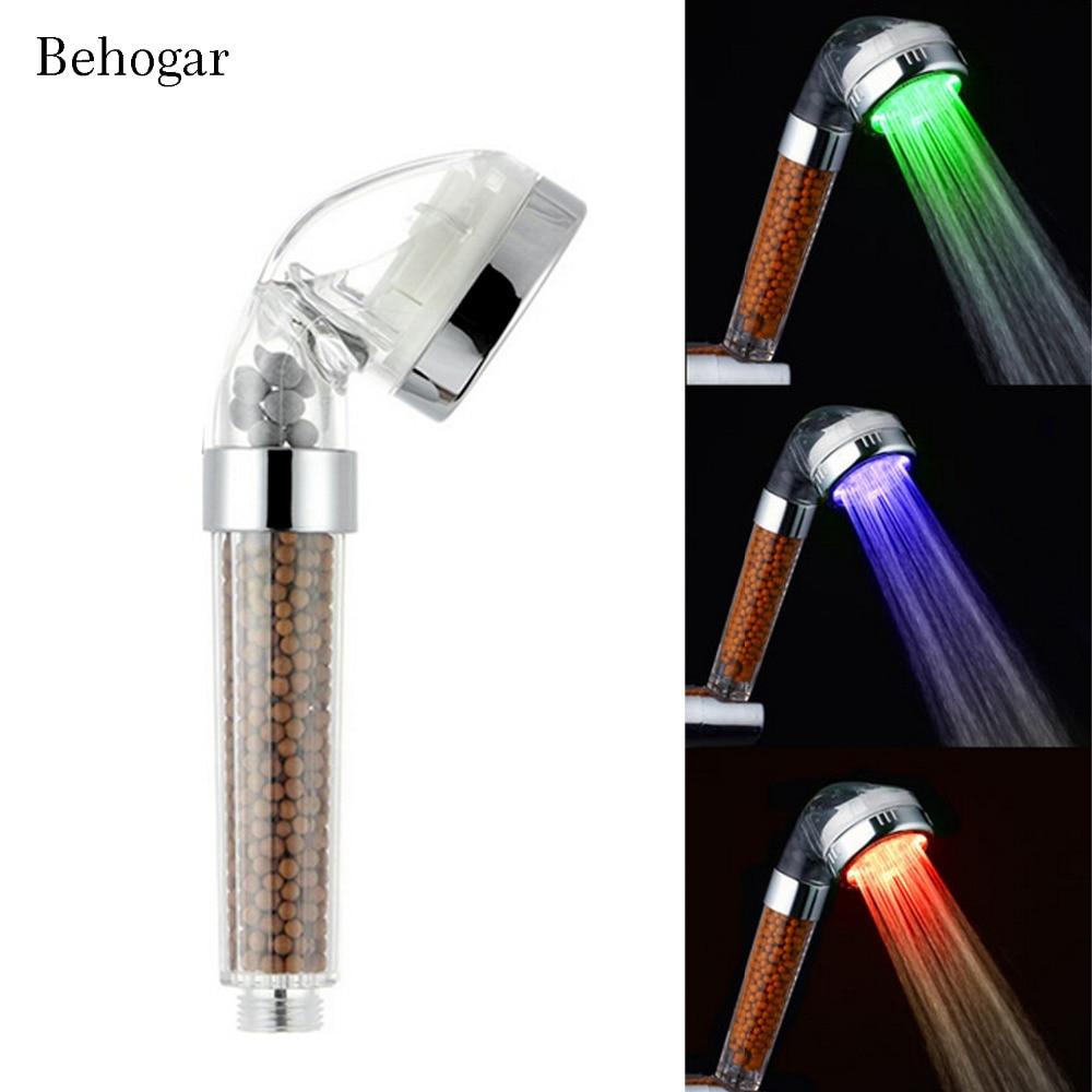 Behogar Led Licht Anion Dusche Kopf Temperatur Control 3 Farbwechsel Regenbogen Handbrause für SPA Bad Zubehör