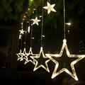 Natal Luzes AC 220 V UE Ficha de Fadas Romântico Estrela LEVOU Cortina Corda Iluminação Para O Feriado de Casamento Garland Decoração Do Partido
