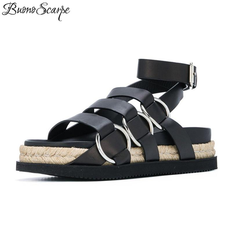 87a2b7e21405c forme Chaussures Buonoscarpe Sandales Casual Cheville Noir De Talons Cuir  Véritable Pêcheur À Femmes Plage Boucles ...
