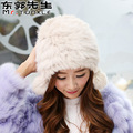 Rabbit Fur Warm Bomber Hats Ear Protect Earcuff Women Cute Pom Solid Color Thick Fluffy Plush Winter Ushanka Hats Female Gorro
