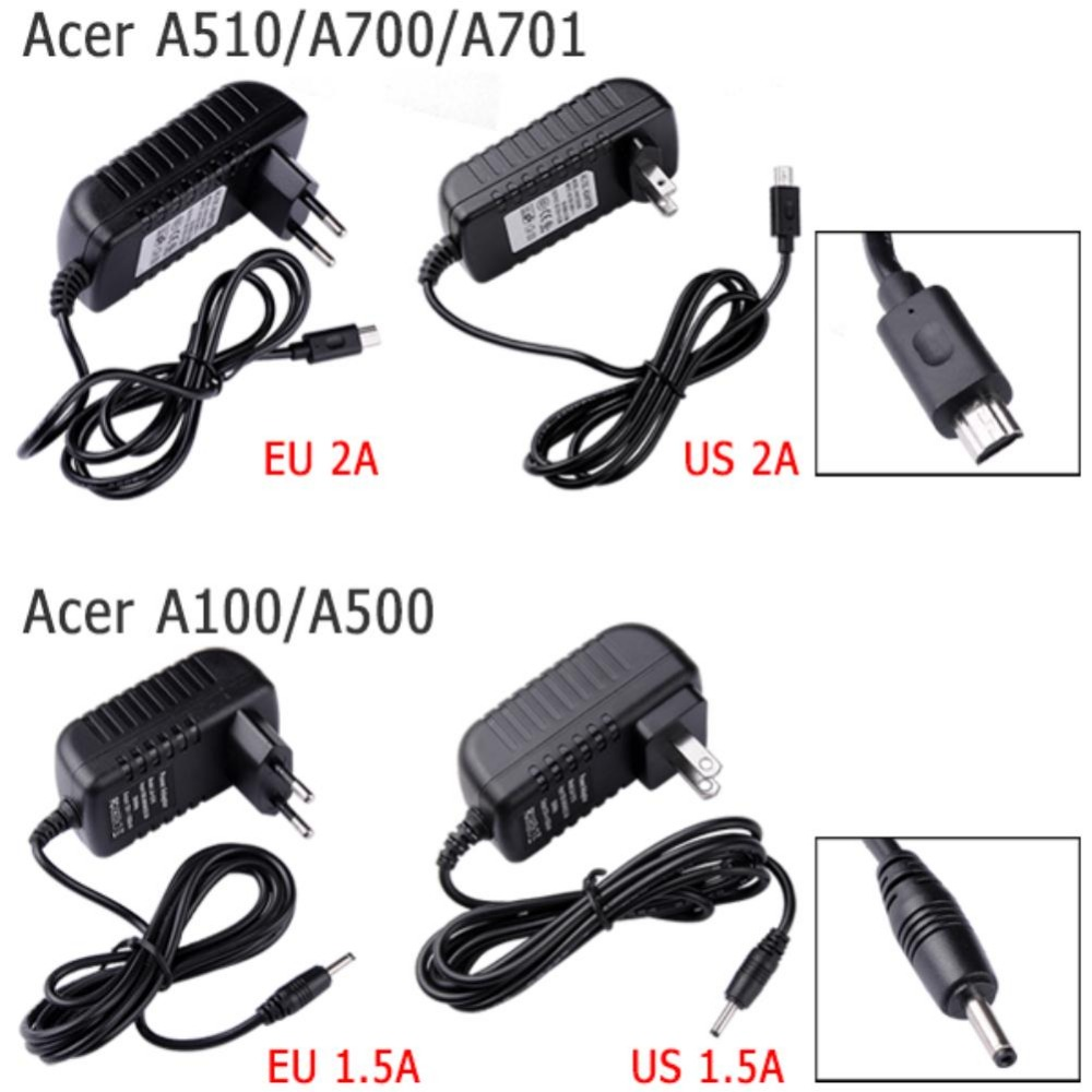 YCDC 12V EU US Plug AC DC Home Charger Charge Power Cord Wall Charging Adapter For Acer Iconia Tab A510 A700 A701 Tablet