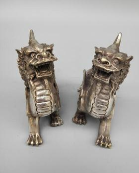 Chinese white copper double wing unicorn a pair