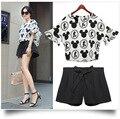 5xl além disso big size 2 peça definir mulheres calções top set primavera roupas de verão 2016 dos desenhos animados t-shirt de impressão preto shorts fêmeas A2361