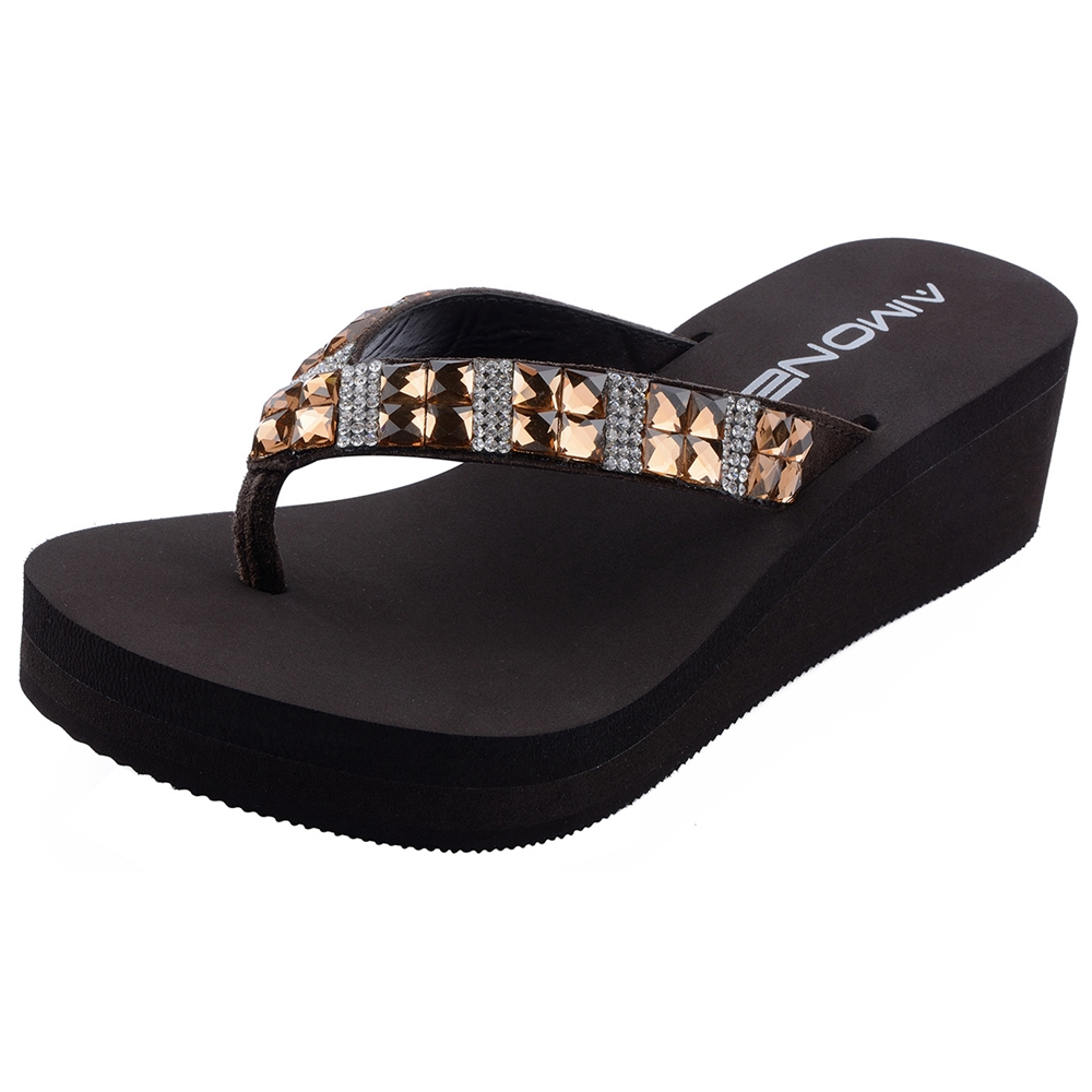 AIMONE Womens Mid Heel Rhinestone Brown Womens Flip Flop 2018 Thongs Beach  Sandals Shoes Casual Sandals Female Ladies Shoes-in Flip Flops from Shoes on  ... dd47582f0fb2