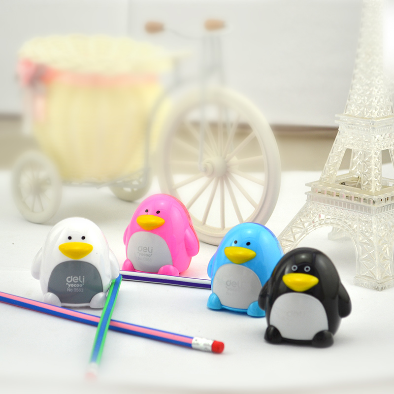 12 Pcs Plastic Colored Cartoon Penguin Double Holes Pencil Sharpener For Students 3 Colors Deli 0563