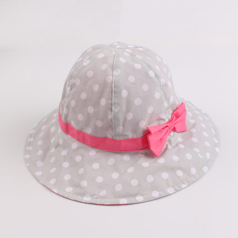 Dots Bowknot Baby Girls Bucket Sun Hat Toddler Kids Wide Brim Summer UV Protection Cap High Quality Cotton Lining Chinstrap Stay On (3)