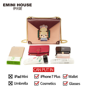 Image 4 - EMINI HOUSE Indian Style Padlock Chain Bag Niche Crossbody Bags For Women Shoulder Bag Split Leather Women Messenger Bags