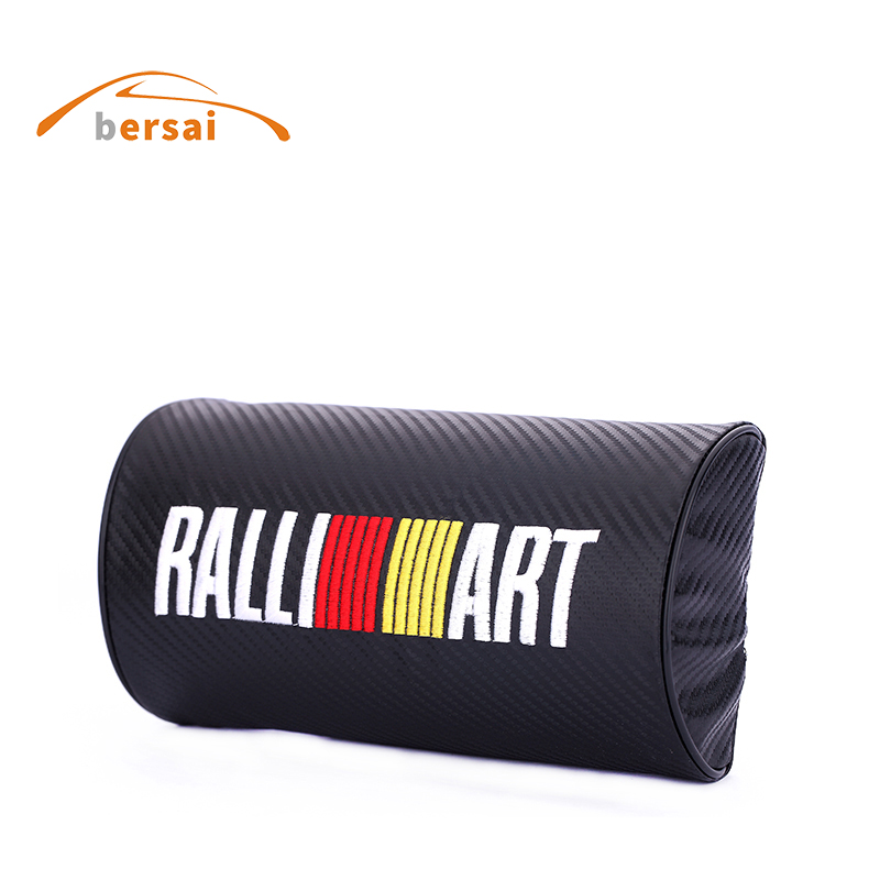 BERSAI 1 piece Carbon fiber style soft Neck Pillow JDM car styling for RALLIART forcitroen c4 audi a3 nissan KIA VW accessories