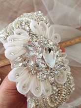 3D Flower Rhinestone Applique, Beaded Crystal Applique for Bridal Sash, Wedding Gown, Belt, Headpiece, Hair Flowers