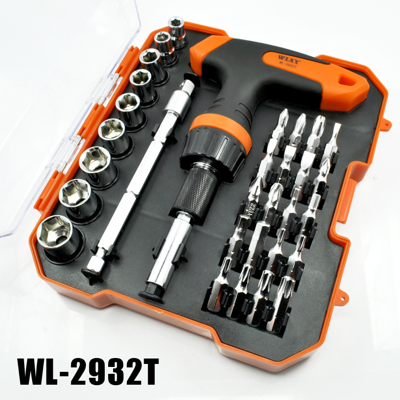 WLXY 32 in 1 Multi Purpose Screwdrivers Combination Including Ratchet Screwdriver Bits Sleeve Socket Wrench