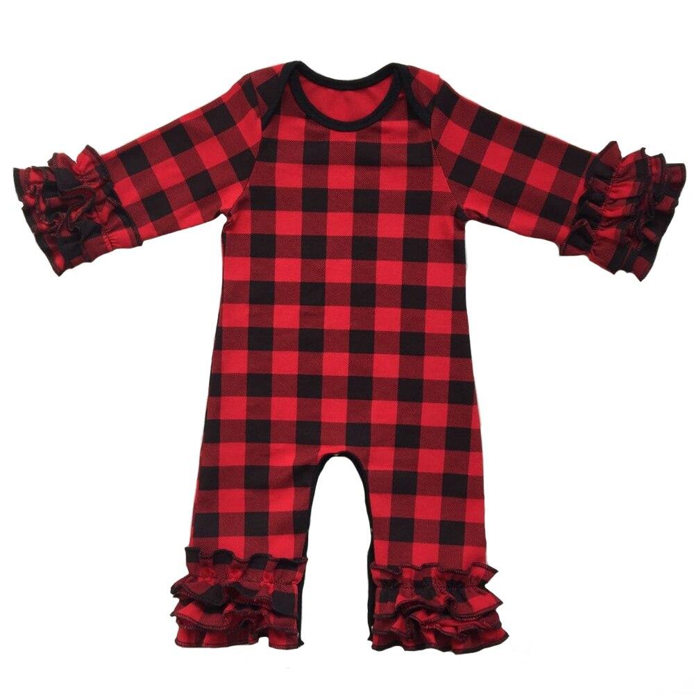 De noël En Gros Bébé Cerise Ruche jambe Barboteuse Nouveau-Né Boutique Buffle plaid pyjama robes traverses bébé Salopette
