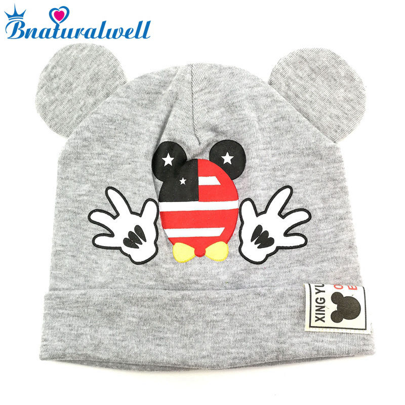 Bnaturalwell Cute Lovely Mouse Boys Girls Caps Baby Cotton   Beanies   Knitted hat Newborn Gift Toddler Cartoon Hat H061D