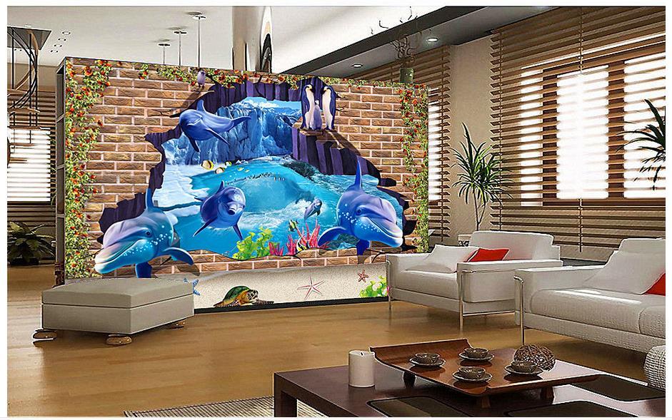 3d photo wallpaper custom 3d murals wallpaper Mediterranean Sea wall paper 3 d underwater world TV setting wall brick wall decor