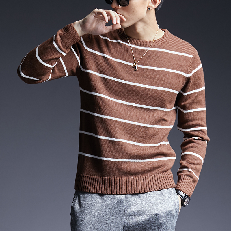 2019 New Fashion Brand Sweaters Men Pullovers Warm Slim Fit Jumpers Knitwear Striped Autumn Korean Style Casual Clothing Male