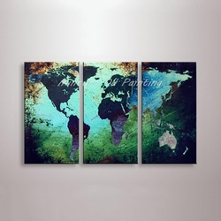 Mintra Art mapa świata obraz olejny 100% ręcznie malowane nowoczesne Wall Art Picture abstrakcyjne obrazy olejne na płótnie dekoracja biurowa