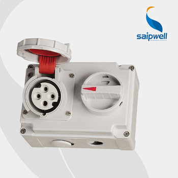 IP67 4Poles  16A 400V interlock switch socket / International Standard Socket with Switches and Mechanical Interlock  SP-7279