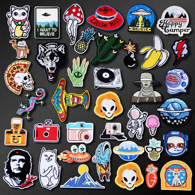 Bomb Lightning Camera Patch for Clothing Iron on Embroidered Sewing Applique Cute Sew On Fabric Badge DIY Apparel Accessories(China)