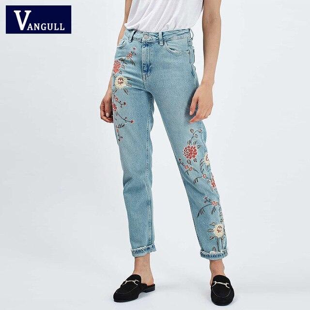 Denim Blue Floral Embroidery Women's Jeans Pockets Vintage Ladies Jeans Ankle-length Pants Fashion Femme Office Women Jeans