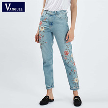 Denim Azul Bordado Floral Bolsos Das Calças de Brim Das Senhoras Calças de Brim Do Vintage do Tornozelo-comprimento das Mulheres Calças Moda Femme Escritório Das Mulheres das calças de Brim(China (Mainland))