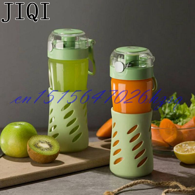 JIQI Portable 300W Electric Juicer Multifunctional food processer Juicer/Milk shake/stirring High borosilicate glass bottle