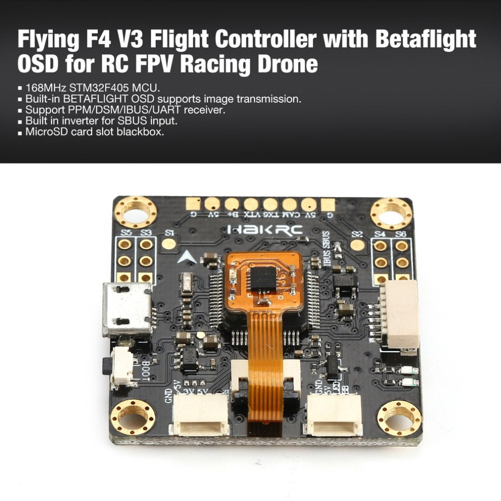 Flying F4 V3 Flight Controller FC with Betaflight OSD PPM/DSM/IBUS/UART SD Slot for RC FPV Racing Drone Quadcopter UAV ht betaflight omnibus f4 pro v3 flight controller built in osd barometer sd blackbox 30 5x30 5mm for fpv quadcopter rc drone diy