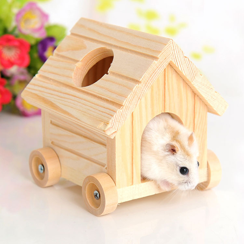 Lovely Small Pet Hamster Mice Squirrel Wooden House Nest Toy Cage Decor Flowery