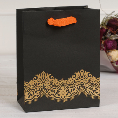 Lux 20.5*16*8.8cm 8pcs paper hand bag black gold lace with ribbon handle gift packaging candy hold