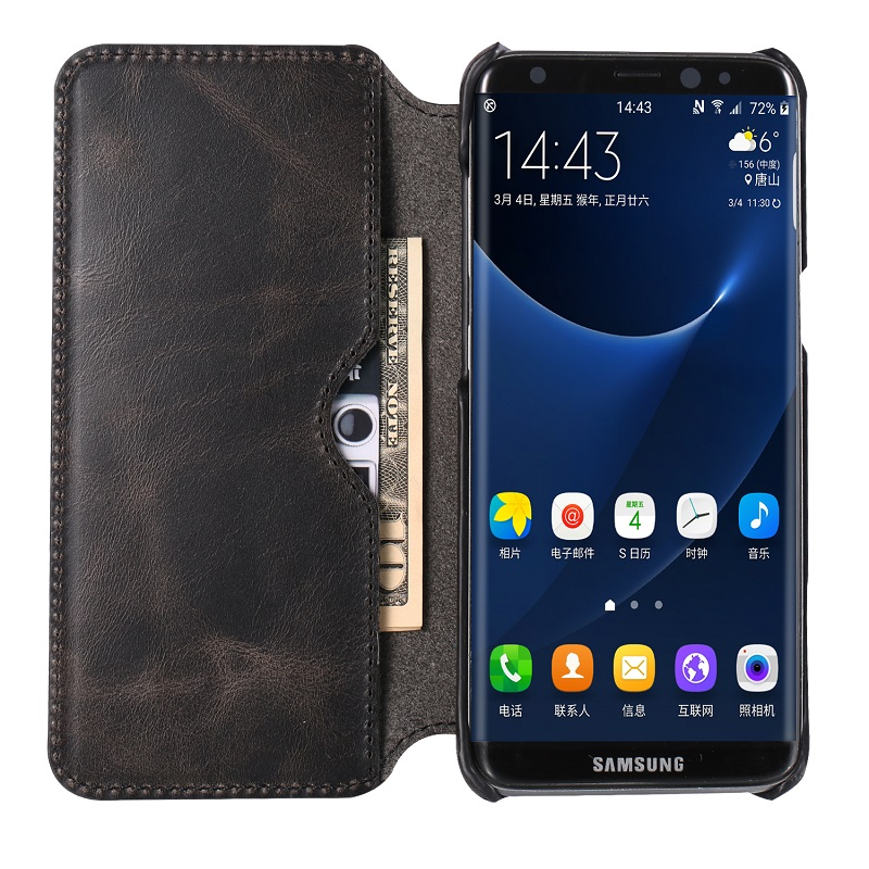 BLACK real leather caseS for samsung galaxy s8 genuine leather cover