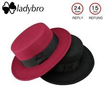 Ladybro Felt Wide Brim Fedoras Hat Women Autumn Winter Hat F