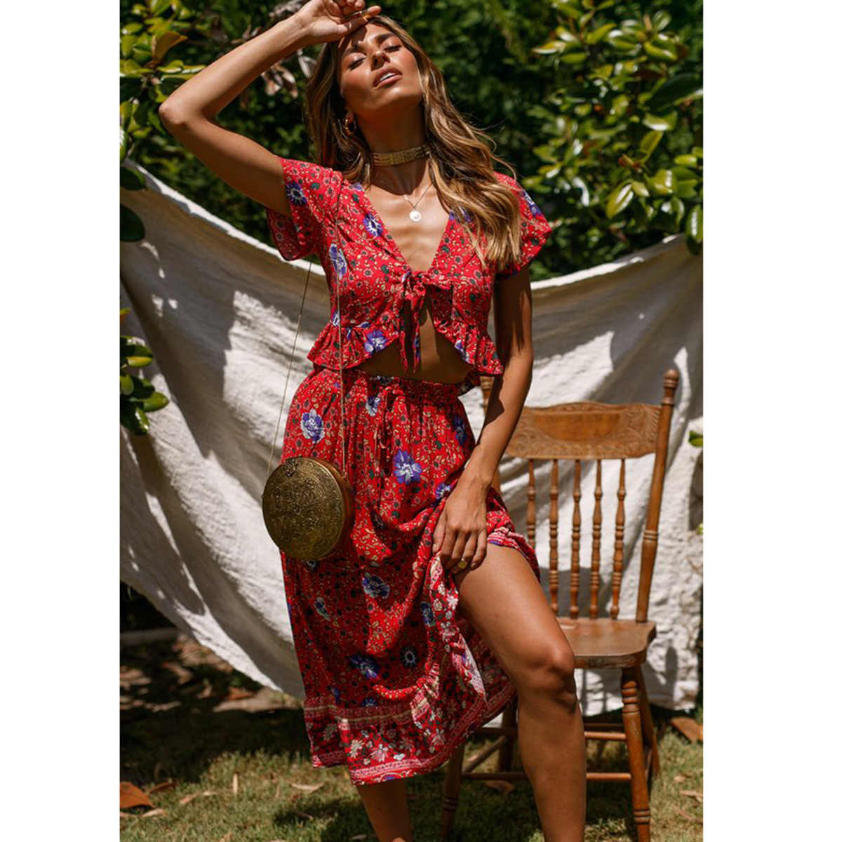 e5539d6a48226 Detail Feedback Questions about Ruffles Floral Print Boho Maxi Skirt ...