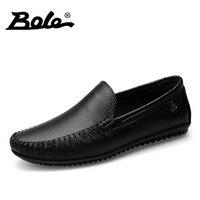 BOLE Men Leather Shoes New Handmade Moccasins Genuine Leather Loafers Designer Superstar Slip On Breathable Peas
