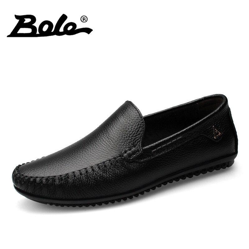 BOLE Hommes Chaussures En Cuir à la Main Mocassins En Cuir Véritable hommes Mocassins Conception Superstar Slip Confort Pois Chaussures Hommes Appartements