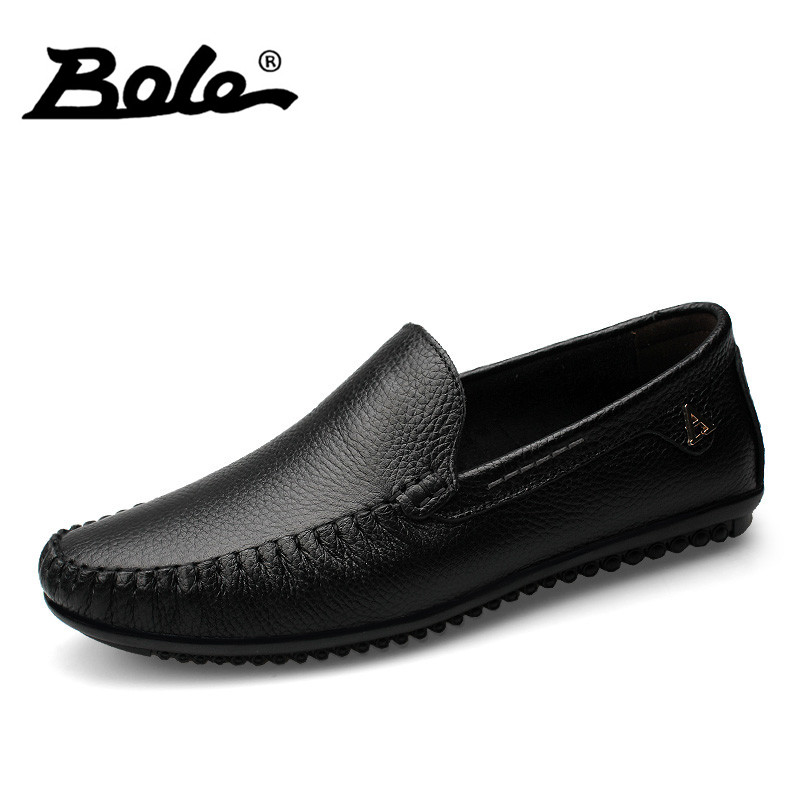 BOLE Men Leather Shoes New Handmade Moccasins Genuine Leather men Loafers Design Superstar Slip on Comfort Peas Shoes Men Flats new style comfortable casual shoes men genuine leather shoes non slip flats handmade oxfords soft loafers luxury brand moccasins