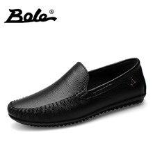 BOLE Men Leather Shoes New Handmade Moccasins Genuine Leather men Loafers Design Superstar Slip on Comfort Peas Shoes Men Flats