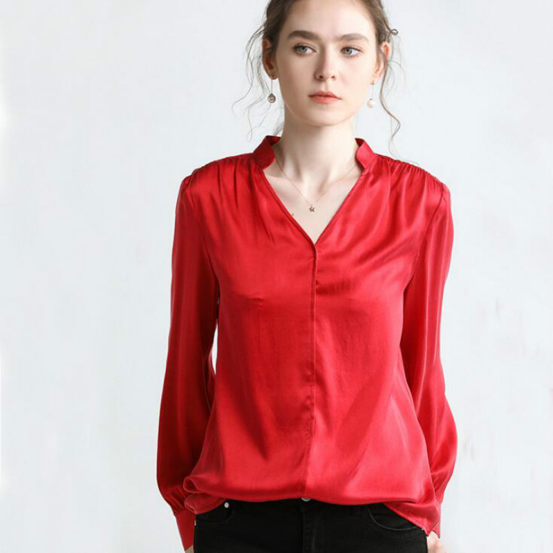 Enthusiastic Summer New Arrive High Quality 100% Silk Office Lady Blouse Short Sleeved Women's Clothing