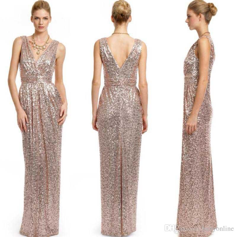2015 Rose Gold Long Bridesmaid Dresses Plus Size Custom Made V Neck