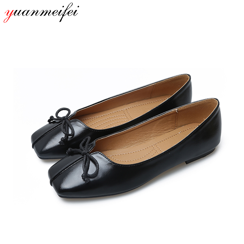 yuanmeifei Casual Loafers Shoes Women Sandals Spring/Autumn Square Toe Bowtie Shoes Flats Plus Size 41 Slip-On 2017 New Arrival odetina 2017 new women pointed metal toe loafers women ballerina flats black ladies slip on flats plus size spring casual shoes