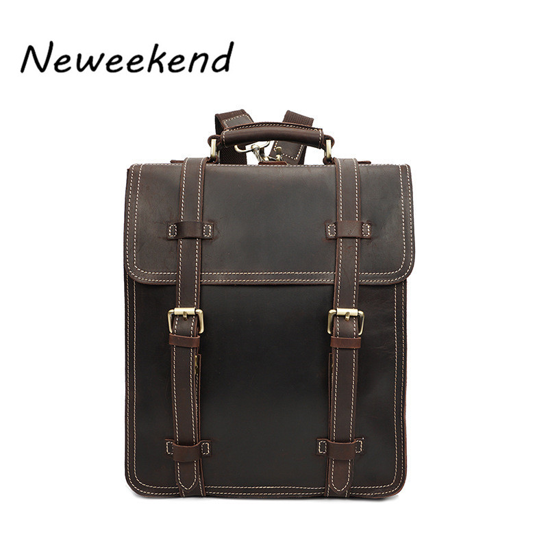 NEWEEKEND Backpack Men Backpacks Leather School Bag Men's Backpack Male Travel Crazy Horse Shoulders Bags Laptop Bags YD-8062 2017 new masked rider laptop backpack bags cosplay animg kamen rider shoulders school student bag travel men and women backpacks