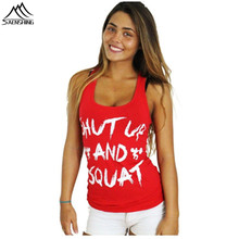 2018 Fashion Sleeveless Regular Tank Top SHUT UP and SQUAT women workout tank tops Casual clothes fitness summer style tops lift