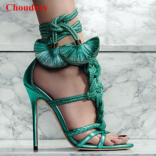 abc5f06a0068 Knotted Woven Leather Braided Strings High Heel Sandals Ankle-Tie Gladiator  Party Pumps Sandalias Sexy Women Fringed Shoes