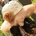 Mujeres sol del verano del sombrero Anti ultravioleta de sol plegable sombrero de encaje sombrero de playa chica mujeres del verano del algodón
