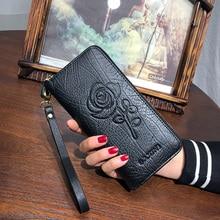AOEO calfskin Girls wallet for women genuine leather purse Embossed Wallets walet wristlet ladies female portomonee