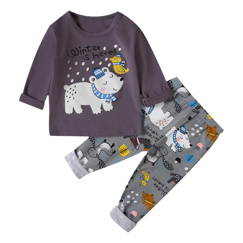 SAILEROAD Children's Pajamas For Boys Cute Polar Bear Pajamas Set Animals Printed Pyjamas Kids Pijama Infantil Child Sleepwear