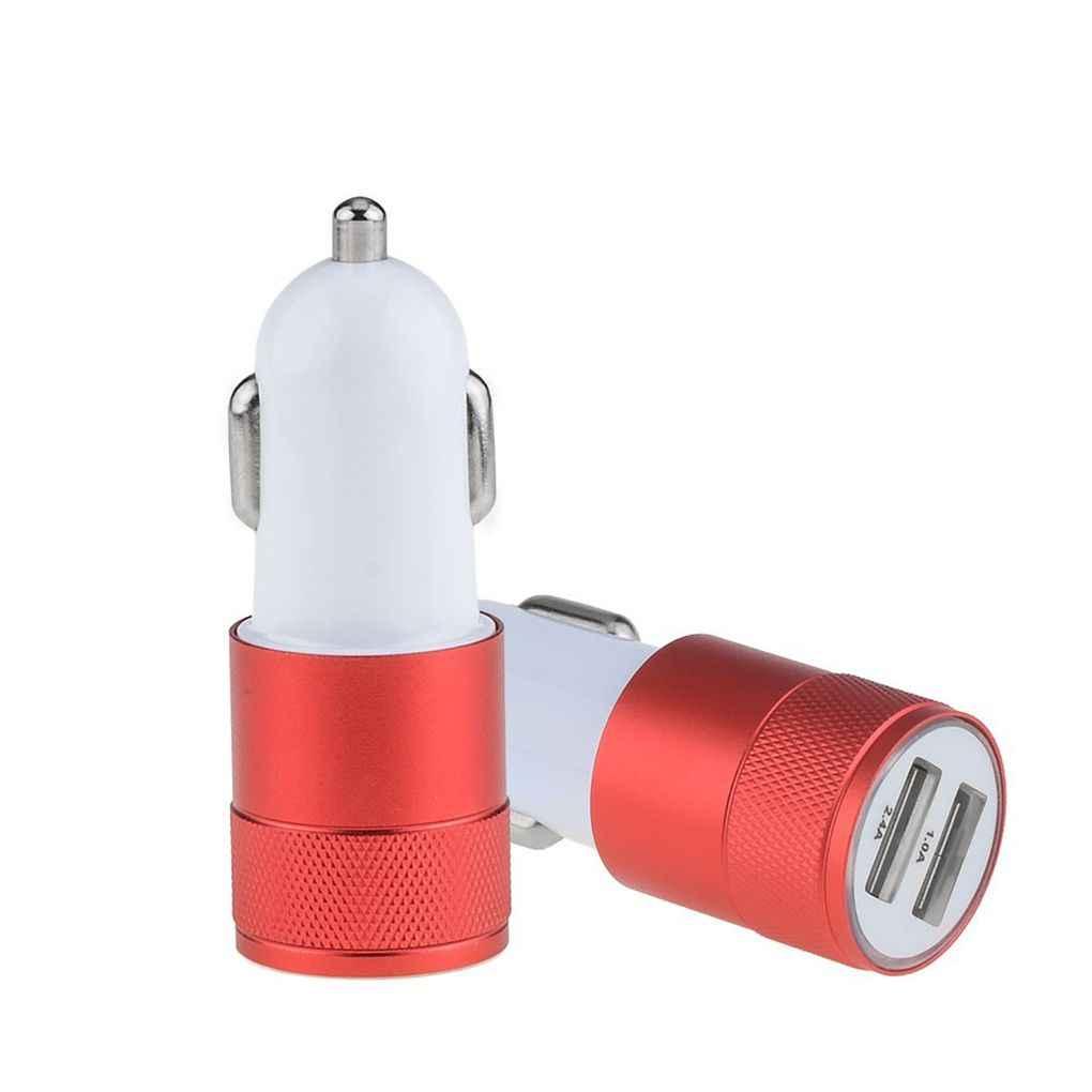 Venta caliente 2.1A 1A aleación 2 puertos USB Carga inteligente Universal cargador de coche Dual USB para iPhone para Android móvil teléfono