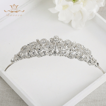 Bavoen New European Brides Shining Crystal Tiara Crown Wedding Silver Hairbands Evening Hair Accessories